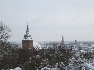 Michaeliskirche, Johanneskirche,Wasserturm vom Kalkberg aus