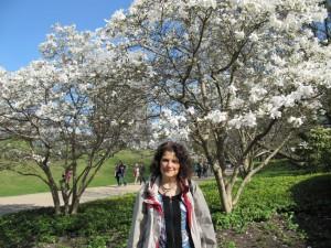 Binchen unter dem Magnolienblüten